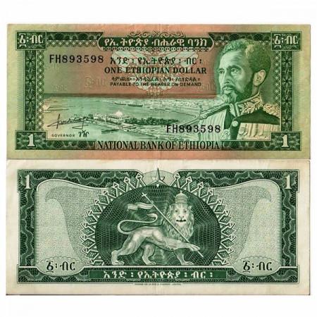 """ND (1966) * Billet Éthiopie 1 Dollar """"Haile Selassie I"""" (p25a) TTB+"""