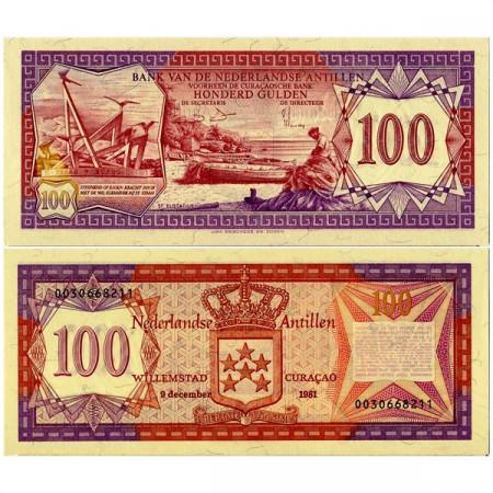 """1981 * Billet Antilles Néerlandaises 100 Gulden """"Sint Eustatius - Curacao"""" (p19b) NEUF"""