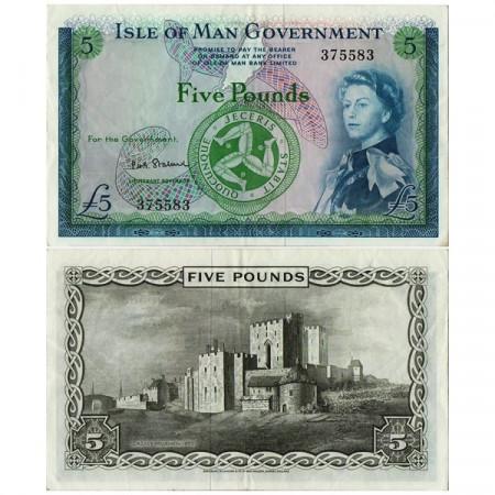 """ND (1967) * Billet Île de Man 5 Pounds """"Elizabeth II"""" (p26b) TTB+"""