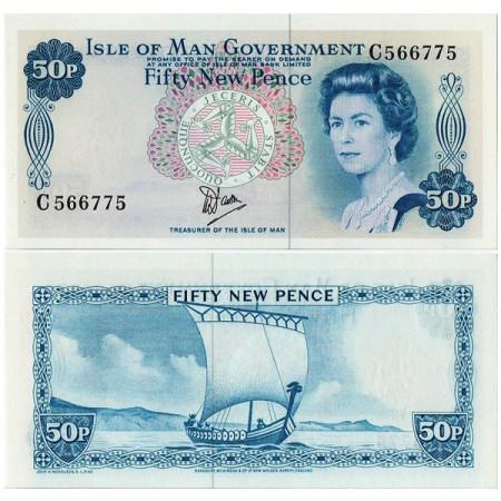 """ND (1979) * Billet Île de Man 50 New Pence """"Elizabeth II"""" (p33a) NEUF"""