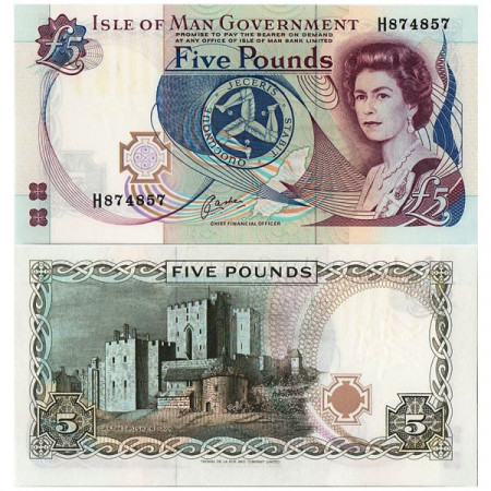 "ND (1991) * Billet Île de Man 5 Pounds ""Elizabeth II"" (p41b) NEUF"