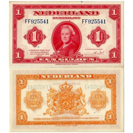 """1943 * Billet Pays-Bas 1 Gulden """"Reine Wilhelmine"""" (p64) prNEUF"""