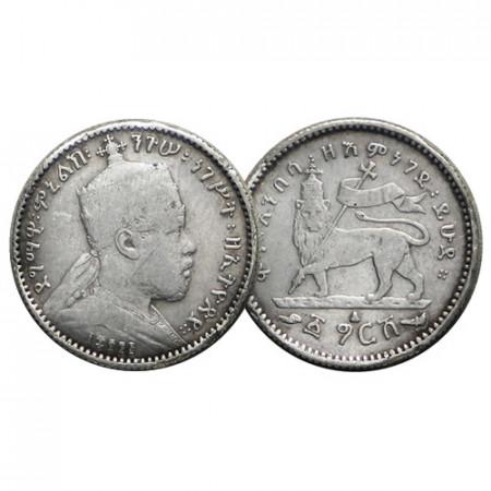 """EE 1895 (1902-03) A * 1 Gersh Argent Éthiopie """"Menelik II - Lion"""" (KM 12) prTTB"""