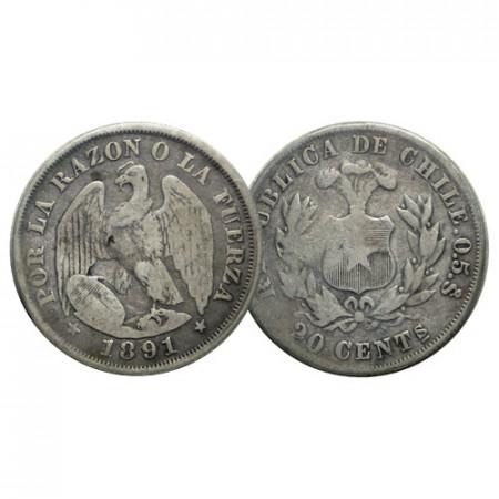 """1891 * 20 Centavos Argent Chili """"Condor"""" (KM 138.3) TB"""