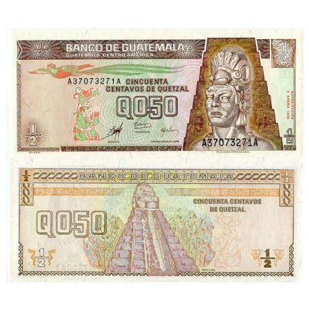 """1998 * Billet Guatemala 1/2 Quetzal (50 Centavos) """"Tecun Uman"""" (p98) NEUF"""