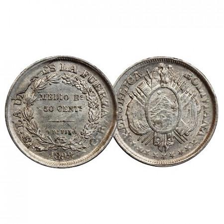 1898 * 50 Centavos (1/2 Boliviano) Argent Bolivie (KM 161.5) SUP