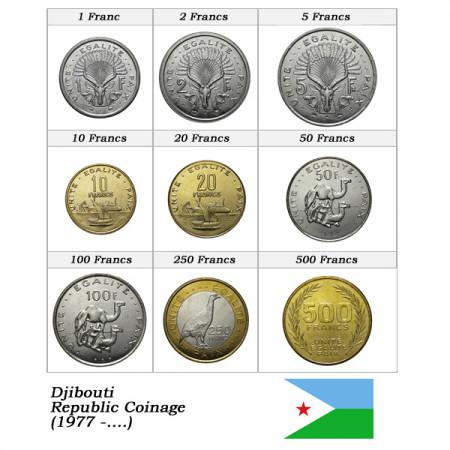 """Ans Divers * Série 9 Pièces Djibouti """"Francs"""" UNC"""