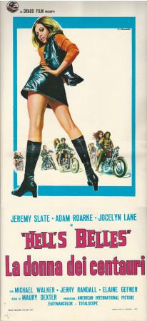 "1973 * Cartel Cinematográfico ""Hell's Belles - La Donna dei Centauri - Jeremy Slate"""