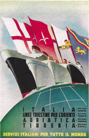 """1943 * Anuncio Original """"Italia Flotte Riunite - Servizi Italiani Per Tutto Il Mondo"""" en Passepartout"""