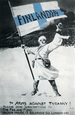 "ND (WWII) * Propaganda de Guerra Reproducción ""Finlandia - Alle Armi Contro La Tirannia!"" en Passepartout"