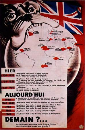 """ND (WWII) * Propaganda de Guerra Reproducción """"Governo di Vichy - Ieri, Oggi, Domani?..."""" en Passepartout"""