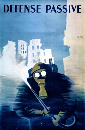 """ND (WWII) * Propaganda de Guerra Reproducción """"Francia - Difesa Civile"""" en Passepartout"""