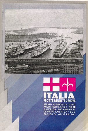"1933 * Anuncio Original ""Italia Flotte Riunite Genova – Puerto - ARTI GRAFICHE ALFIERI"" en Passepartout"