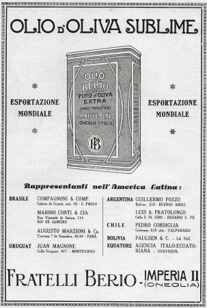 "1928 * Anuncio Original ""Olio Berio - Rappresentanti nell'America Latina"" en Passepartout"