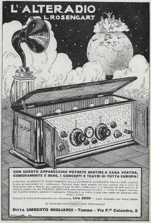 """1928 * Anuncio Original """"L'Alteradio L.Rosengart - Lire 2850"""" en Passepartout"""