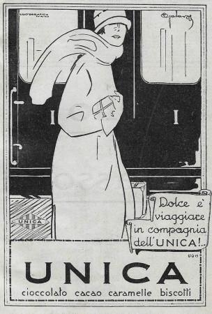 "1928 * Anuncio Original ""Unica - Cioccolato, Cacao, Caramelle, Biscotti"" en Passepartout"