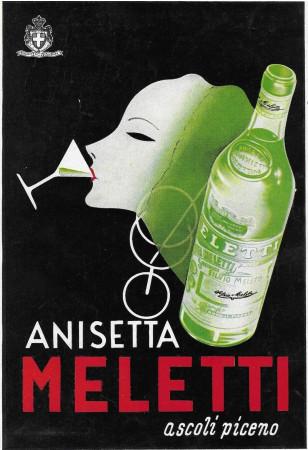 """1939 * Anuncio Original """"Anisetta Meletti - Ascoli Piceno"""" en Passepartout"""