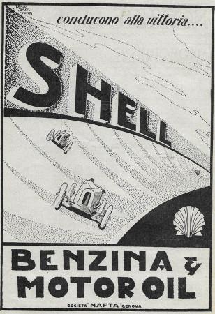 """1928 * Anuncio Original """"Shell - Conducono Alla Vittoria - BASSI"""" en Passepartout"""