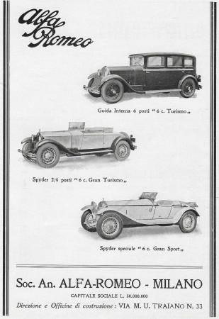 "1931 * Anuncio Original ""Alfa Romeo - Vetture"" en Passepartout"