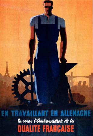 """ND (WWII) * Propaganda de Guerra Reproducción """"Governo di Vichy - Lavorando In Germania Sarai Ambasciatore"""" en Passepartout"""