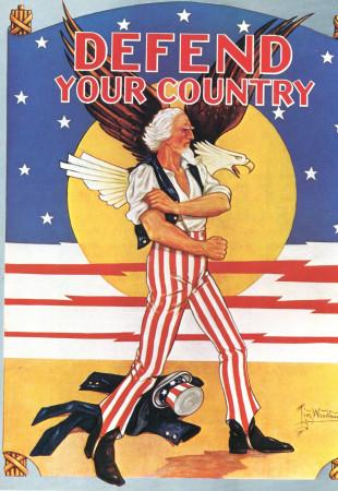 """ND (WWII) * Propaganda de Guerra Reproducción """"USA - Difendi Il Tuo Paese"""" en Passepartout"""