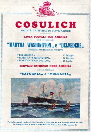 "1930 * Anuncio Original ""Cosulich - Martha Washington e Belvedere"" en Passepartout"