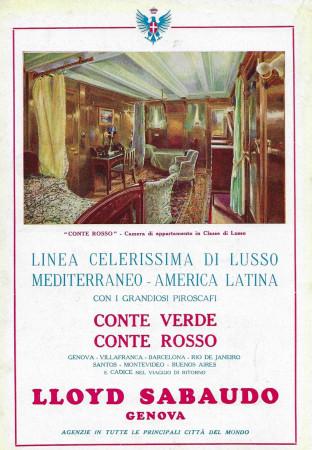 """1929 * Anuncio Original """"Lloyd Sabaudo - Conte Rosso, Camera di Lusso"""" en Passepartout"""