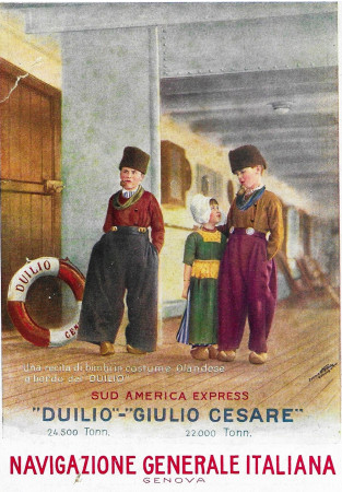 "1930 * Anuncio Original ""Navigazione Generale Italiana - Sud America Express - STUDIO TESLA"" en Passepartout"