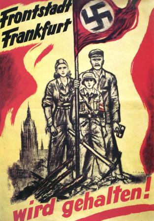 """ND (WWII) * Propaganda de Guerra Reproducción """"Germania - Francoforte Resisterà!"""" en Passepartout"""