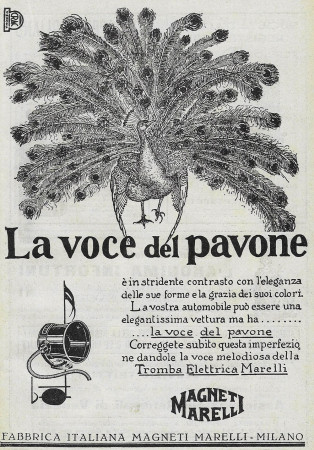 "1928 * Anuncio Original ""Magneti Marelli - La Voce Del Pavone"" en Passepartout"