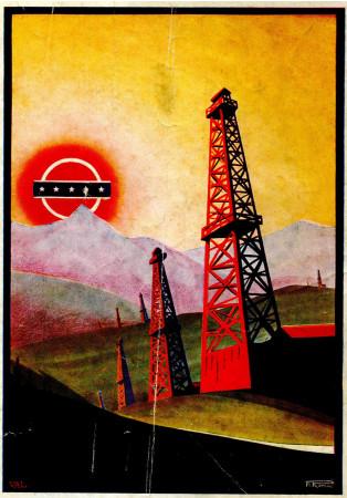 "1930 * Anuncio Original ""Società Italo Americana Petrolio - Paesaggio - ROMOLI"" en Passepartout"