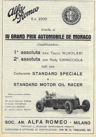 "1932 * Anuncio Original ""Alfa Romeo - IV Grand Prix Automobile De Monaco - Tazio Nuvolari"" en Passepartout"