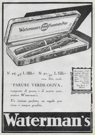 """1929 * Anuncio Original """"Waterman's - Parure Verde-Oliva"""" en Passepartout"""