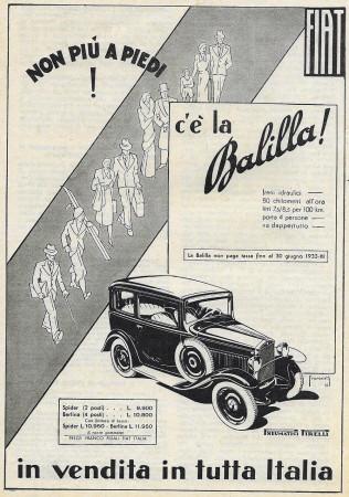 """1932 * Anuncio Original """"Fiat - C'è La Balilla - FRANCESCHETTI"""" en Passepartout"""
