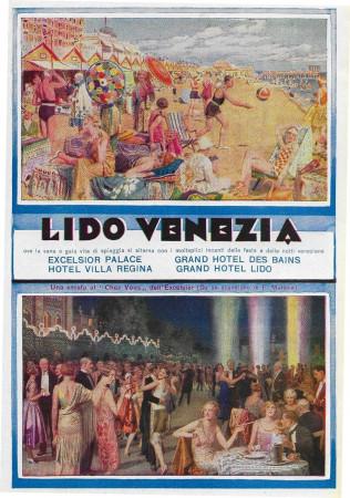 """1928 * Anuncio Original """"Lido Venezia - Hotel Excelsior, Villa Regina, Des Bains, Lido"""" en Passepartout"""