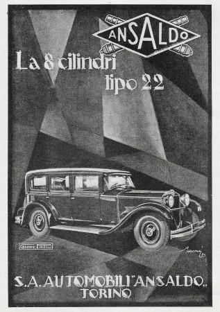 """1929 * Anuncio Original """"Ansaldo - La 8 Cilindri Tipo 22"""" en Passepartout"""