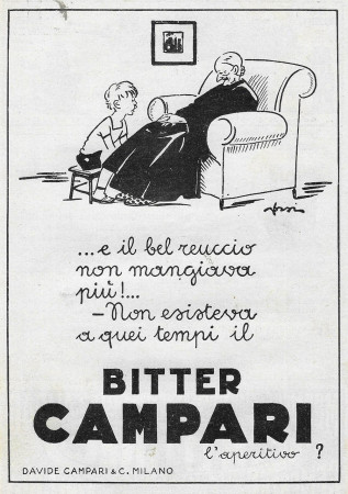 """1929 * Anuncio Original """"Campari Bitter - E Il Bel Reuccio Non Mangiava Più – ORSI"""" en Passepartout"""
