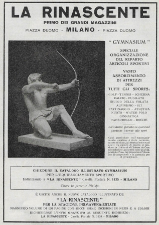"1929 * Anuncio Original ""La Rinascente - Gimnasium, Organizzazione Reparto Articoli Sportivi"" en Passepartout"