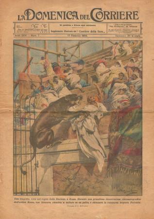 """1924 * La Domenica Del Corriere (N°7) """"Tragedia Cinematografica - Ghiaccio in Canada"""" Revista Original"""