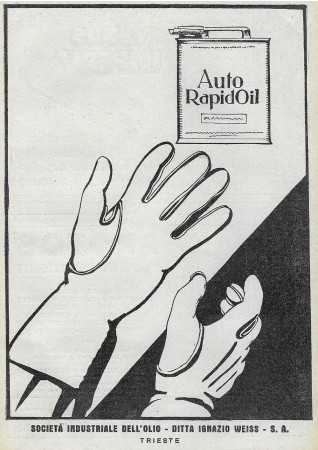 "1928 * Anuncio Original ""Auto Rapid Oil - Guanti"" en Passepartout"
