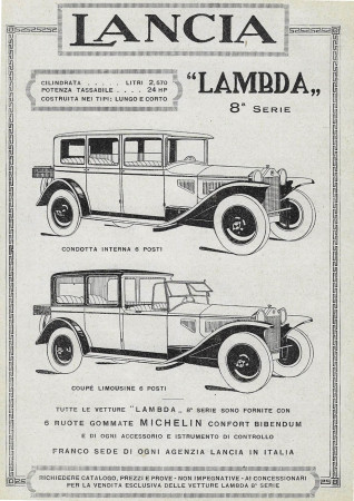 "1928 * Anuncio Original ""Lancia - Lambda 8° Serie - Coupè Limousine"" en Passepartout"