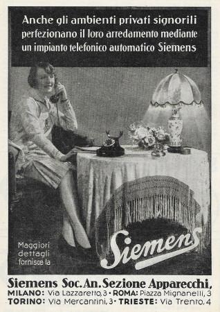 "1928 * Anuncio Original ""Siemens - Ambienti Privati Signorili"" en Passepartout"