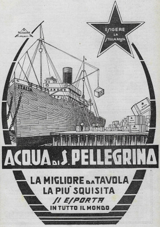 """1929 * Anuncio Original """"Acqua S.Pellegrino - La Migliore Da Tavola - PLUSULTRA"""" en Passepartout"""