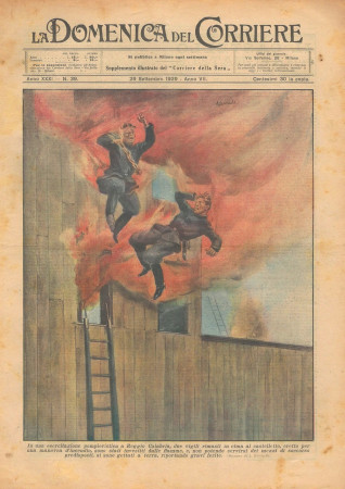 """1929 * Revista Histórica Original """"La Domenica Del Corriere (N°39) - Due Vigili Avvolti Dalle Fiamme"""""""