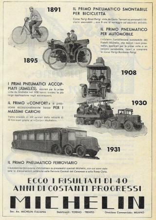 """1932 * Anuncio Original """"Michelin - Progressi di 40 Anni"""" en Passepartout"""