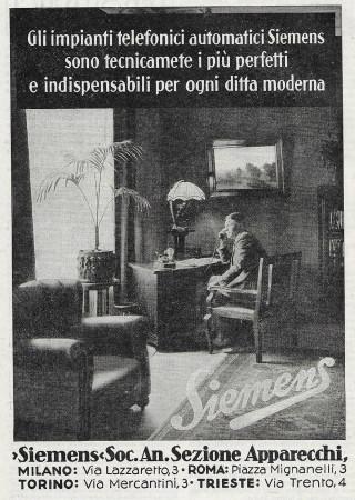 "1928 * Anuncio Original ""Siemens - Perfetti e Indispensabili"" en Passepartout"