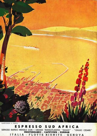 """1936 * Anuncio Original """"Italia Flotte Riunite - Espresso Sud Africa"""" en Passepartout"""