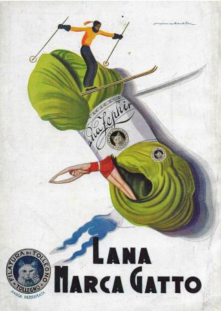 """1932 * Anuncio Original """"Lana Gatto - Gomitolo Sciatore E Tuffatrice - MATELDI"""" en Passepartout"""