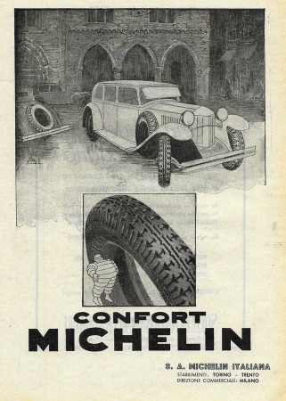 """1932 * Anuncio Original """"Michelin - Confort"""" en Passepartout"""
