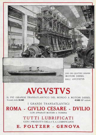 "1928 * Anuncio Original ""Navigazione Generale Italiana - Augustus - Il Più Grande Transatlantico"" en Passepartout"